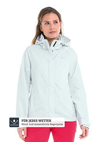 Schöffel Damen Jacket Easy L4 Wasser-und Winddichte Jacke für jedes Wetter, leichte und Flexible Regenjacke für Frauen, Blau (Blue Flower), 44