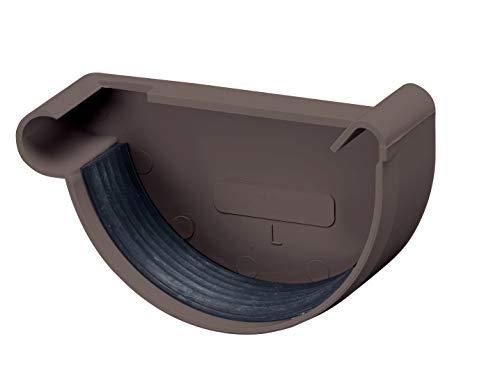 INEFA Rinnenendstück halbrund Dunkelbraun NW 100, links, Kunststoff, Regenrinne - Stück für Rinne, Dachrinnen, Kunststoffrinne für Gartenhaus, Gewächshaus - Endstück, Zubehör
