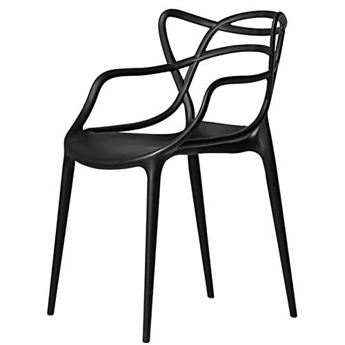 Schwarz Gartenstuhl Aus Kunststoff   Gartensessel   4X Wetterbeständiger Stapelstuhl   Balkonmöbel für Terrasse oder...