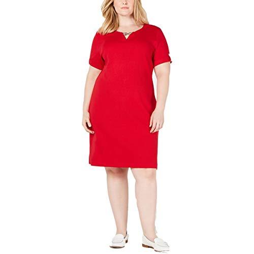 Karen Scott Sport Womens Plus Fitness Workout Dress Red 2X