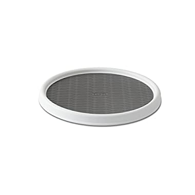 Copco 2555-0190 Non-Skid Pantry Cabinet Lazy Susan Turntable, 12-Inch, White/Gray