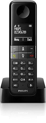 Philips D4501B/38 Schnurloses Telefon (4,6 cm (1,8 Zoll) Display, HQ-Sound, Mobilteil mit Freisprecheinrichtung) schwarz
