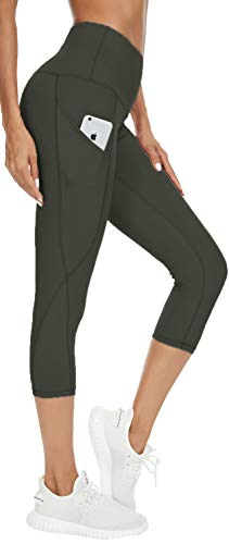 SouqFone Women's High Waisted Yoga Pants Capri Cropped Leggings for Running Workout Exercice-M,Capris Army Green