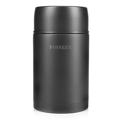 Pioneer Thermo-Speisegefäß 1,0 L Edelstahl Doppelwandig Vakuum-Isolierbehälter 8 Stunden Heiß 24 Stunden Kühl BPA-Frei - Mattschwarz