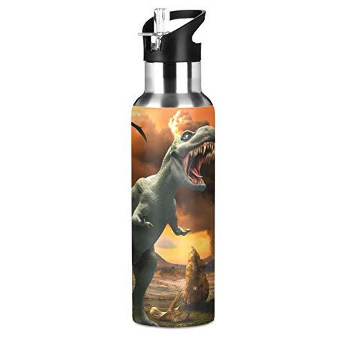 Mnsruu Botella de agua de dinosaurio de fuego con tapa de pajita para niños y niñas, 600 ml, termo deportivo de acero inoxidable a prueba de fugas, para mujeres, hombres y adolescentes