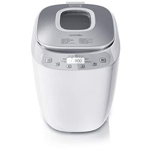 Arendo - Brotbackautomat BPA frei - Brotbackmaschine 12 Programme - glutenfrei Backen - 700-1000 g - Direktantrieb - Backmaschine mit Sichtfenster - Warmhaltefunktion - Antihaftbeschichtung