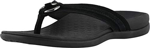 Vionic Women's Tide Aloe Toe-Post Sandal - Ladies Flip- Flop with Concealed Orthotic Arch Support Black Suede 9 Medium US