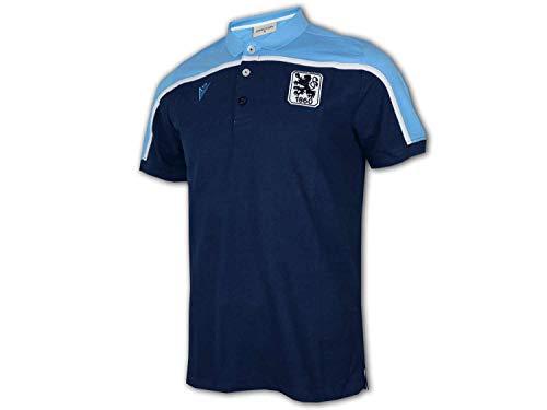 Macron 1860 München Poloshirt blau 1860 Polo Jersey Fan Shirt Löwen Sechzig, Größe:S