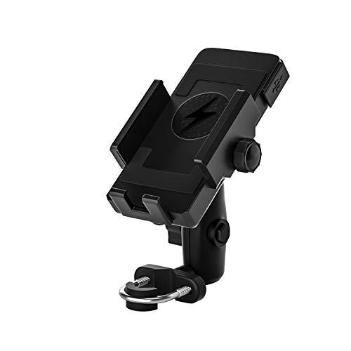 IQQI Motocicleta Inalámbrica Qi/Cargador De Teléfono del Soporte USB, 12-120V Manillar/Retrovisor Celular Monte De Carga Rápida para 4.5-7 Pulgadas Celulares