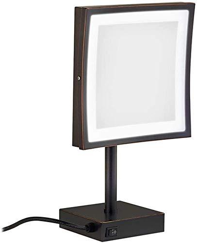 L&B-MR Espejos de maquillaje, vanidad LED de latón iluminado ajustable de pie cosmético 3 aumentos con interruptor de enchufe (color negro)