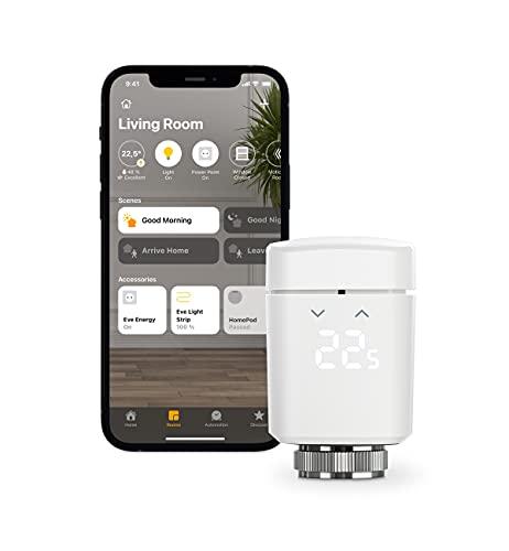 Eve Thermo - Válvula inteligente de radiador con pantalla LED, control automático de temperatura, no necesita pasarela, controles táctiles integrados, Bluetooth, Apple HomeKit, fabricada en Alemania