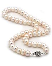 regalo per la festa della mamma,ELAINZ HEART® 45cm AAAA collana di perle coltivate d'acqua dolce con fermaglio in argento sterling 925