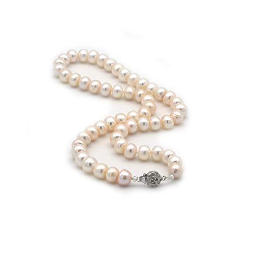 bestes Geschenk für die beste Mutter und Frau,ELAINZ HEART hochwertige echte große Perlenkette Hochzeit, 45cm A2AAA feinsten Glanz weiß 9-10mm Süßwasser kultiviert reine Knopfperlen