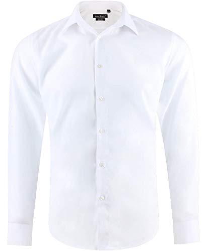 Camisa Hombre Casual Slim fit Ajustada Blanca Manga Larga Talla XXL