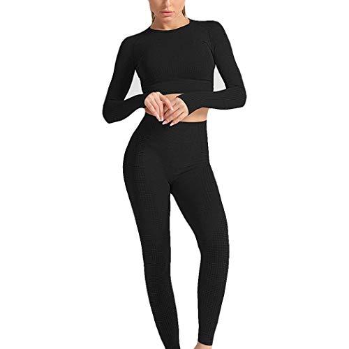 HANMAX Damen Langarm Freizeitanzug Sportanzug Jogger Bauchfrei Jacke mit Reißverschluss Sporthose Set Jogginganzug (M, Schwarz 2)