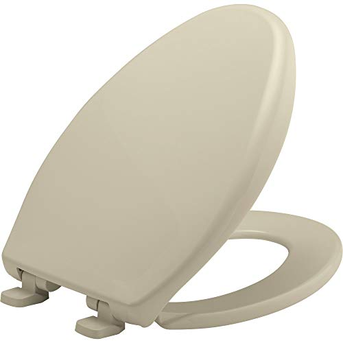BEMIS 7900TDGSL 006 Heavy Duty Closed Front Plastic Toilet Seat with Cover will Slow Close, Never Loosen & Reduce Call-backs, ELONGATED, Plastic, Bone