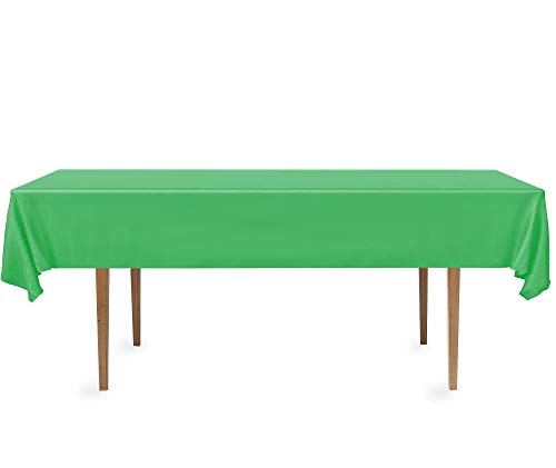 DecorRack 2 Rectangular Tablecloths -BPA- Free Plastic, 54 x 108 inch, Dining Table Cover Cloth Rectangle for Parties, Picnic, Camping and Outdoor, Disposable or Reusable in Green (2 Pack)