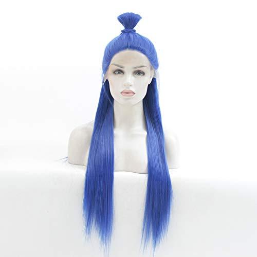 LUZIWEN La mode européenne et américaine perruque perruque bleu perruque longue ligne droite (Color : 22 inches)