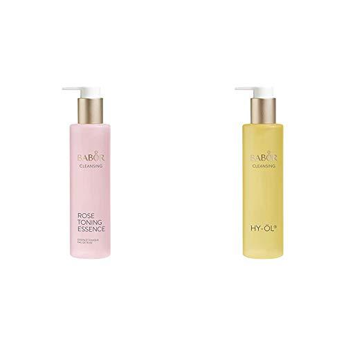 BABOR CLEANSING Rose Toning Essence, Erfrischendes Gesichtswasser für jede Haut, mit leichtem Rosenduft, 1 x 200ml & CLEANSING HY-ÖL hydrophiles Reinigungsöl, für jeden Hauttyp, 1 x 200 ml