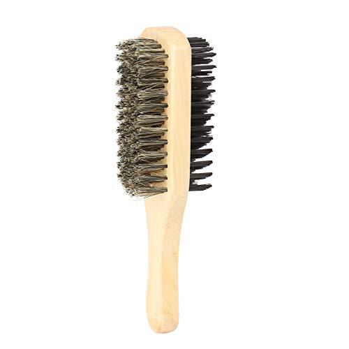 Cepillo de pelo duro y suave Cepillo de barba para peinar, cerdas faciales de doble cara cepillo de pelo cepillo de bigote masculino cepillos de bigote mango de madera natural peine de afeitar