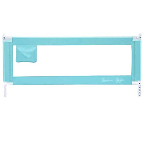 Rieles de cama azul/gris/rosa para niñas Cuna convertible/Individual/Doble/Queen/King Size Cama 120/150/180/200/220 cm Barandilla de seguridad-180 cm / 71 pulgadas_Azul