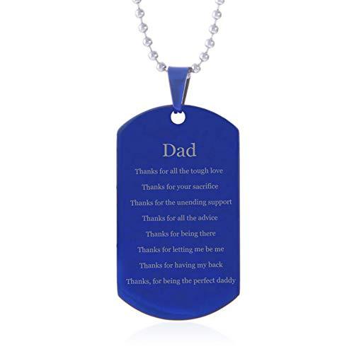 NineJewelry Danke Papa Geschenk - Edelstahl Blau Überzogenes Gefühl Motivierend Inspiriertes Gedicht Gravierte Hundemarke Anhänger Halskette für Papa zum Vatertag,Geburtstag,Neues Papa Geschenk