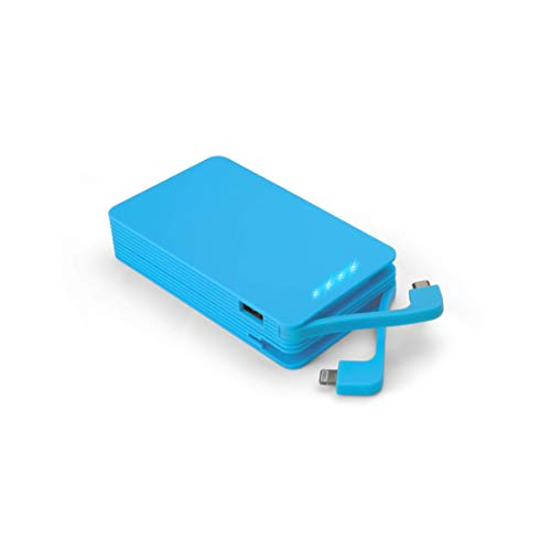 Juice Weekender High Capacity Portable Power Bank with Built In Connectors, iPhone, Samsung, Huawei, iPad, 8400 mAh, Aqua