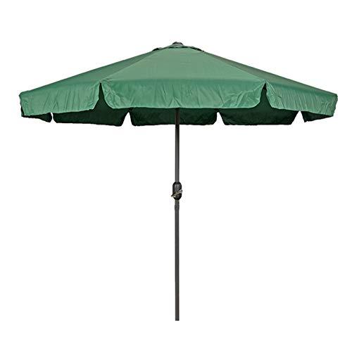Sombrilla Terraza Parasol Jardin 2,7 M / 9 Pies Sombrilla Verde para Patio, Sombra de Jardín Exterior Sombrillas de Mesa con Solapas, Poste de Metal, Tejido Impermeable y de Protección UV