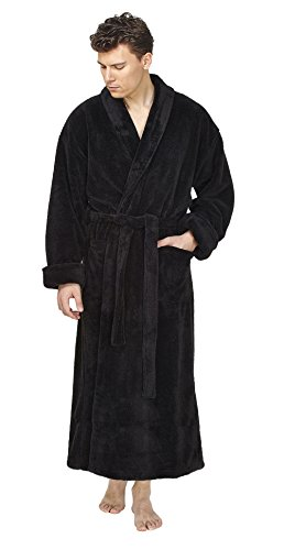 Badjas voor heren met sjaalkraag, extra lang of kuitlang, ochtendjas, saunamantel, 1A kwaliteitsproduct, wijd gesneden, super pluizige, volumineuze stof van 100% microvezel, ademend.