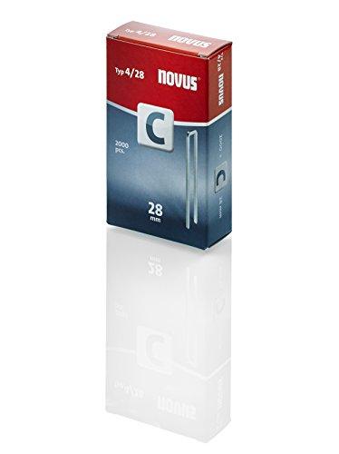 Novus Schmalrückenklammern mit 28 mm Länge, 2000 Klammern vom Typ C4/28, für Profilhölzer, Paneele und Holzfaserplatten