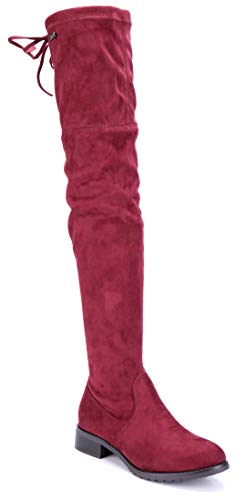 Schuhtempel24 Damen Schuhe Overknee Stiefel Stiefeletten Boots rot Blockabsatz Zierschleife 3 cm