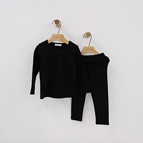 IAMZHL Conjunto de Pijama para bebés Pijama para niños Ropa de Dormir para niños Ropa de Dormir para niños Ropa paraniños pequeños Ropa para niños Mono-Black-1-8T