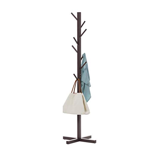 LIPENLI Creativo de madera sólida de suelo simple Brown Perchero simple percha percha de estar de moda Despensa Habitación Percha 158x50x4cm montaje en la pared del estante
