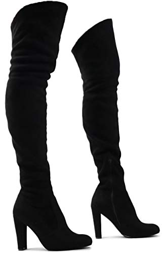 Women's Natalie Over The Knee Thigh High Boots Stretch Suede Pull on Block Heel Black SU 7