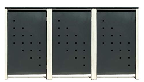3 Tailor Mülltonnenboxen Basic Duo für 240 Liter Tonne/Stanzung 3 / Farbe RAL 7016 Anthrazit/Rahmen RAL 9006 hell Grau/Verschönern Sie Ihre unansehnliche Mülltonnen in Ihrem Hof und Garten!