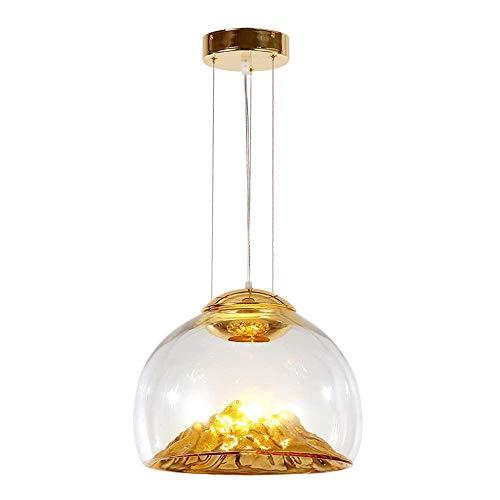 LLLKKK . Lámpara de araña moderna minimalista Golden Mountain de cristal para salón, restaurante o dormitorio, lámpara colgante con 12 W, altura ajustable