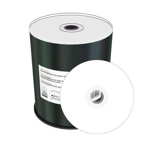 MediaRange CD-R 700Mb|80Min 52x Speed, Inkjet Fullsurface Printable, Cake 100, MR203
