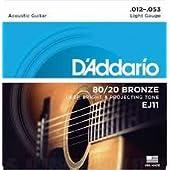 D'Addario EJ11 80/20ブロンズ Light(12-53) ダダリオ アコースティックギター弦 EJ-11 【国内正規品】