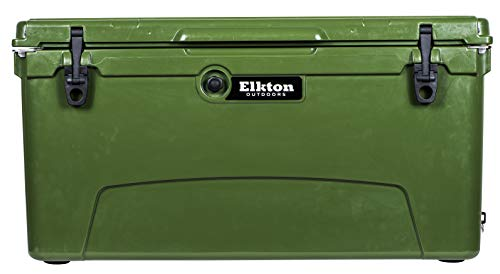 Elkton Outdoors Ice Chest. Heavy Duty, High Performance Roto-Molded Commercial Grade Insulated Cooler, 110-Quart, Green