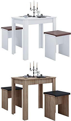 VCM Tischgruppe Sitzgruppe Essgruppe Holztisch Esstisch Tisch Esal L Sonoma-Eiche