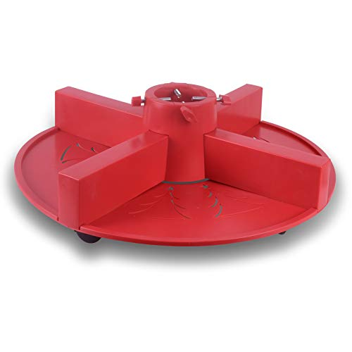 Vencer Christmas Tree Stand for 6-9 Foot Christmas Trees in 80 pounds with 4 Universal Wheels (Red)
