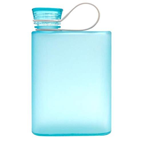 Tragbare Trinkflaschen, Wasserflasche mit Tragegriff,A5 Flachflasche Bier Getränke Flachmänner,Wiederverwendbar & Auslaufsicher,Klar Reisebecher Outdoor Gym Wasserflasche (Blau)