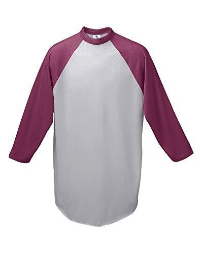 Augusta Sportswear Herren Baseball Jersey 2.0 Dreiviertel-Ärmel, Athletic Heather/Maroon, X-Large