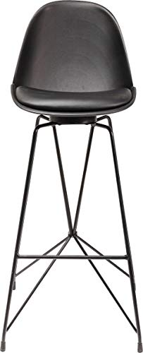 Kare Design barkruk Wire, moderne, massief design stoel met rugleuning, bar stoel, witte barstoel, mat wit-zilver, chroomframe, (H/B/D) 104 x 40 x 49 cm (H/B/T)104x40x49cm zwart