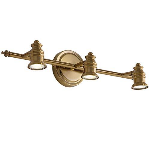 LED lámpara de espejo de baño antiguo metal aplique de pared vintage, diseño de rústica, luz de espejo ajustable, luz de maquillaje tocador americano dormitorio, 15W 3-Focos GU10, L53cm, luz blanca