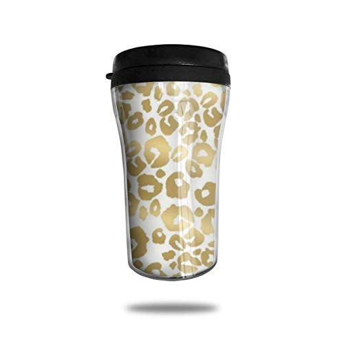 Taza de viaje de acero inoxidable aislada al vacío, taza de café, taza de viaje,Estampado de leopardo brillante