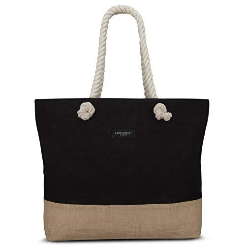LARK STREET Strandtasche Schwarz Beach Bag für Damen & Herren aus robustem Baumwoll Canvas & Jute - Badetasche mit breiten Kordeln für angenehmen Tragekomfort - Große Tasche mit Reißverschluss