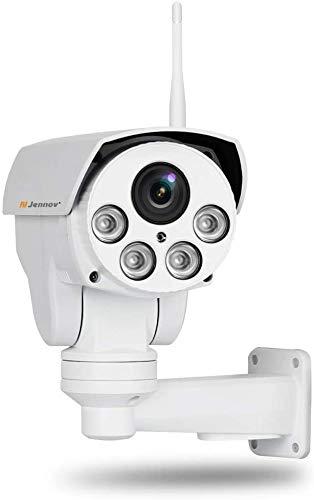 Cámara PTZ de 5 MP para exteriores, Jennov HD 5MP inalámbrica WiFi PTZ cámara Pan Inclinación 4X zoom óptico Home CCTV video y vigilancia de audio IP66 impermeable Outddor preinstalado 32 G ta