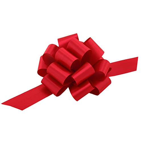 Red Christmas Gift Pull Bows - 5' Wide, Set of 10, Healthcare Workers Support Ribbon, Valentine's Day, Wreath, Swag, Garland, Gift Basket, Presents, Birthday, Fundraiser, Office, Decoration
