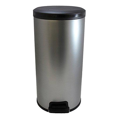Curver Cubo Redondo DECO PEDALBIN 30 L, Metal Mate, 31.6x27.5x56.9 cm, 225316